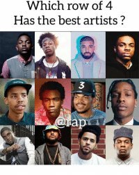 Friends, Memes, and Best: Which row of 4  Has the best artists?  3 That top row is hardbody 👀 what do my rapsavages and rapstars think ? Comment ⬇️ ➡️ TAG 5 FRIENDS ➡️ TURN ON POST NOTIFICATIONS