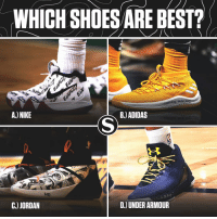 Adidas, Basketball, and Be Like: WHICH SHOES ARE BEST?  A.) NIKE  B.) ADIDAS  k83  C.) JORDAN  D.) UNDER ARMOUR What's your favorite sneaker brand? ⬇️ (Via @sports)