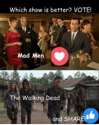 #TheWalkingDead fans, please GIVE this post an ACTUAL VOTE today. :) (y)  Photo credit: Elliot Van Orman Productions: Which show is better? VOTE!  Mad Men  The Walking Dead  and SHARE! #TheWalkingDead fans, please GIVE this post an ACTUAL VOTE today. :) (y)  Photo credit: Elliot Van Orman Productions