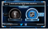 Hockey, Nba, and National Hockey League (NHL): Which sport has had the better playoffs so  Back  far?  Vote Closed  62%  38%  NHL  NBA  SPORTS CENTER  iPOWOW! Sports Center was probably really sad the NBA didn't win. NHL playoffs are the best!-Kyle