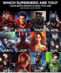 WHICH SUPERHERO ARE YOU?  YOUR BIRTH MONTH IS WHO YOU ARE  SUPERHERO MULTI VERSE  APR  JAN FEB  MAR  RMAYS JUN  JUL  AUG  SEP OCT NOV  DEC Which superhero are you?