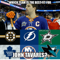 Memes, National Hockey League (NHL), and Toronto Maple Leafs: WHICH TEAM IS THE BEST FIT FOR  SKILLS  @nhl_ref_logi  TORONTO  MAPLE  LEAFS  AOHN TAVARES Getting a player like JT in free agency....