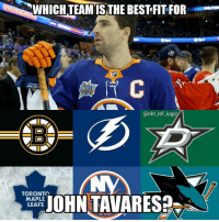 Memes, National Hockey League (NHL), and Toronto Maple Leafs: WHICH TEAMISTHE BESTFIT FOR  SKILLS  @nhl_ref_logi  TORONTO  MAPLE  LEAFS If JT signs with Tampa we can go ahead and skip the 2018-19 season and move on to next year