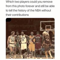 Who 🤔 Comment below 👇🏻: Which two players could you remove  from this photo forever and still be able  to tell the history of the NBA without  their contributions  13  CEUI  CELT  23  PECHA  RESORT Who 🤔 Comment below 👇🏻
