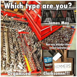 Cars, James May, and Coffee: Which type are you  James May  Not one bloody 10mm  sodketanywhere  DRIP  MATIC  L 7LY OEVELOPED FOR AUTOMATIC DRIP MACH  Sank HAMMERS  97% taffein Free  Coffee  100% Real Coffee  NET WT 320Z (2LB)  Organised  Clarksonnn.  * I'm a mix of can't find any 10mm and Clarksonnn 😂