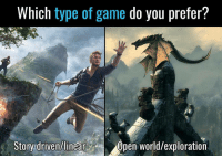 Memes, 🤖, and You: Which type of game do you prefer?  Story driven/linear  Dpen World/exploration If you had to choose?