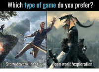 Cats, Crazy, and Dogs: Which type of game do you prefer?  Story drivenhlinear  Open World/exploration Which do you pefer? 🤔Follow 👉@codmemenation for more!😂DOUBLE TAP💖tag friends👇🙌 ➖➖➖➖➖➖➖➖➖➖➖➖➖➖➖➖➖✔Credit:unknown DM for credit Follow my other accounts😃 @cod_meme_nation @animal.angel ➖➖➖➖➖➖➖➖➖➖➖➖➖➖➖ ⏬ Hashtags (ignore) ⏬ cod game gaming gamer meme drake dog dogs cat cats trump 2017 battlefield battlefield1 gta gtav gta5 gtavonline comedy savage humor gamers Relatable Hilarious KimKardashian KylieJenner Squad Crazy Omg Epic