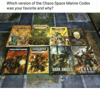 Be careful how you answer.  The 1st don't forgive or forget very easily.  ~ Azrael the Lazy.: Which version of the Chaos Space Marine Codex  was your favorite and why?  Realm Chaos  Calm Chaos  WARHAMMER  CHAOS SPACE MARINES  CHAOS  IN Be careful how you answer.  The 1st don't forgive or forget very easily.  ~ Azrael the Lazy.