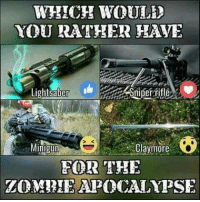 DV6: WHICH WOULD  YOU RATHER HAYE  Lighteaber  Shiper fitle  Claymore  Minigun  FOR THE DV6