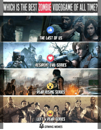 resident evil: WHICHIS THE BEST lOMBIEVIDEOGAME OF ALL TME?  THE LAST OF US  RESIDENT EVIL SERIES  DEAD RISING SERIES  LEFT y DEAD SERIES  A GAMING MEMES