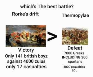Where a last stand was made, and the empire saved: which's The best battle?  Rorke's drift  Thermopylae  Defeat  Victory  Only 141 british boyz  against 4000 zulus  only 17 casualties  7000 Greeks  INCLUDING 300  spartans  4000 casualties  LOL Where a last stand was made, and the empire saved
