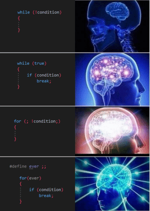 True, Break, and Define: while (!condition)  while (true)  if (condition)  break;  for ( !condition;)  #define ever ;;  for(ever)  :if (condition)  break; Dark theme for your eyes