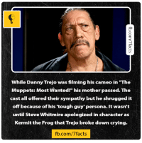 "Source: http://bit.ly/2e1jnKa: While Danny Trejo wasfilming his cameo in ""The  Muppets: Most Wanted!"" his mother passed. The  cast all offeredtheir sympathy but he shrugged it  off because of his tough guy' persona. It wasn't  until Steve Whitmire apologized in character as  Kermit the Frog that Trejo broke down crying.  fb.com/7facts Source: http://bit.ly/2e1jnKa"