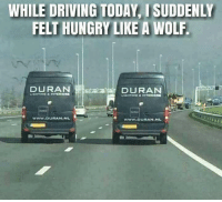 Driving, Hungry, and Memes: WHILE DRIVING TODAY, I SUDDENLY  FELT HUNGRY LIKE A WOLF  DURAN  DURAN  www.DURAN.N  www.DURAN NL Driving with a-band-on.