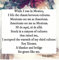 Memes, American, and Mexico: While I was in Mexico,  I felt the chasm between culturas  Mexicans see me as American  Americans see me as Mexican  Ni de aqui, ni de alla  Stuck in a canyon of cultures  that raised me  I accepted the warmth of my third culture  Soy Xicanx.  A blanket and bridge  for gente like me.  kim bianes 🇲🇽🇺🇸Soy xicanx ❤️🇲🇽 kimbjånes ・・・ Repost @kimbjanes