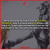 More facts -> 8Anime: While recording the English Dub for  Fullmetal  Alchemist, there is a scene where Ed throws a tea  cup at Al. To get a genuine reaction, a real tea cup  was thrown at the voice actor and used in the show. More facts -> 8Anime