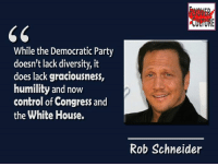 Flyover Culture: While the Democratic Party  doesn't lack diversity, it  does lack graciousness,  humility and now  control of Congress and  the White House.  Rob Schneider Flyover Culture