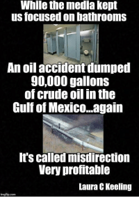 Memes, Http, and Mexico: While the media kept  us focused on bathrooms  An oil accident dumped  90.000 gallons  of crude oil in the  Gulf of Mexico...again  t's called misdirection  Very profitable  Laura C Keeling  imgflip.com -- Check out Our 2nd Amendment Apparel: http://goo.gl/YQERIk