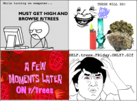 While on r/trees on Friday...: While turning on computer.  THESE WILL DO  MUST GET HIGH AND  r  BROWSE RITREES  SELF. trees. FRida  ONLY .GIf  A FEW  MOMENTS LATER  ON r/trees While on r/trees on Friday...