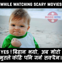 Suggest some scary movie that one shouldn't risk watching alone :D :D: WHILE WATCHING SCARY MOVIES  meme NEPAL Suggest some scary movie that one shouldn't risk watching alone :D :D