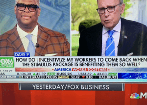 While we all stress about how to pay bills with the tiny amount of stimulus we will get, Fox News is saying we will want to float indefinitely on the money and never go back to work again.: While we all stress about how to pay bills with the tiny amount of stimulus we will get, Fox News is saying we will want to float indefinitely on the money and never go back to work again.