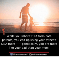 Dad, Memes, and Parents: While you inherit DNA from both  parents, you end up using your father's  DNA more genetically, you are more  like your dad than your mom.  /didyouknowpagel@didyouknowpage