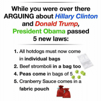 Arguing, Beef, and Beef: While you were over there  ARGUING about Hillary Clinton  and Donald Trump  President Obama passed  5 new laws:  1. All hotdogs must now come  in individual bags  2. Beef stromboli in a bag too  4. Peas come in bags of 5  5. Cranberry Sauce comes in a  fabric pouch ZOINKS