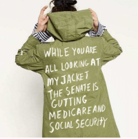 """Looking, Senate, and Via: WHILE YOUARE  ALL LOOKING AT  MYJACKET  THE SENATE IS  GUTTING  MEDICAREAND  SOCIAL SECURty <p>Misdirection found in r/pics via /r/MemeEconomy <a href=""""https://ift.tt/2tDwg0X"""">https://ift.tt/2tDwg0X</a></p>"""