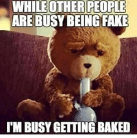 Baked, Memes, and 🤖: WHILEOTHER PEOPLE  ARE BUSY BEINGFAKE  I'M BUSY GETTING BAKED Baked!! @cannasocietys420