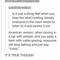 """Driving, Memes, and Drive: Whimsicalethnographies:  justaholmesboy:  is it just a thing that when you  hear the wind howling literally  everyone in the room stops to  listen to it and points it out  American version: when driving in  a car with people, and you pass a  farm with cattle grazing, everyone  will stop talking and just say,  """"cows.""""  IT'S TRUE THOUGH @spunky is lit"""