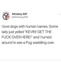 "Animals, Dogs, and Love: Whiskey Riff  @WhiskeyRiff  I love dogs with human names. Some  lady just yelled ""KEVIN! GET THE  FUCK OVER HERE!"" and I turned  around to see a Pug waddling over. Follow my other account @x__social_butterfly_x if you love animals!!"