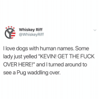 """I had a fish named Paul.: Whiskey Riff  @WhiskeyRiff  I love dogs with human names. Some  lady just yelled """"KEVIN! GET THE FUCK  OVER HERE!"""" and I turned around to  see a Pug waddling over. I had a fish named Paul."""