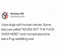 "Dank, Dogs, and Love: Whiskey Riff  @WhiskeyRiff  I love dogs with human names. Some  lady just yelled ""KEVIN! GET THE FUCK  OVER HERE!"" and I turned around to  see a Pug waddling over."