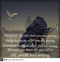 9gag, Dank, and Funny: Whisper of the heart  Respect the old when you are young  Help the weak when you are strong.  Confess the fault en you are wrong.  Because one day in life you will be  old ,weak and wrong  GAG is your best source of fun. Respect the old when you are young http://9gag.com/gag/ajYoG50?ref=fbp  Follow us to enjoy more funny pics and memes on http://instagram.com/9gag