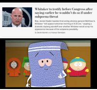 "Politics, Tomorrow, and Acting: Whitaker to testify before Congress after  saving earlier he wouldn't do so if under  subpoena threat  Rep. Jerrold Nadler tweeted that acting attorney general Matthew G.  Whitaker ""will appear tomorrow morning at 9:30 am,"" capping a  dramatic daylong standoff over whether Whitaker would scrap his  appearance because of the subpoena possibility  By Devlin Barrett and Karoun Demirjian"