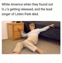 America, Memes, and White: White America when they found out  O.J.'s getting released, and the lead  singer of Linkin Park died. Hold your L