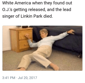 America, White, and Rough: White America when they found out  O.J.'s getting released, and the lead  singer of Linkin Park died.  3:41 PM Jul 20, 2017 Rough Day for the Whites
