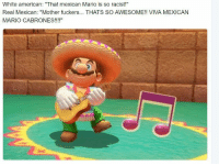 "Viva Mexico!: White american: ""That mexican Mario is so racist!""  Real Mexican: ""Mother fuckers... THATS SO AWESOME!! VIVA MEXICAN  MARIO CABRONES!!!!"" Viva Mexico!"
