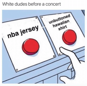 Funny, Nba, and White: White dudes before a concert  nba jersey unbuttoned  hawaiian  shirt Chad and Kyle gonna throw blows https://t.co/kkMgLv13RJ