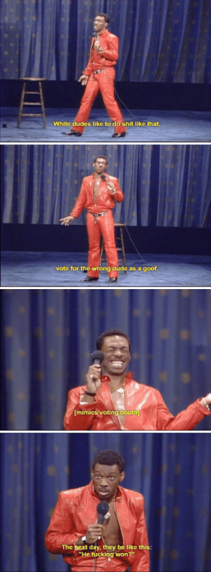 "Be Like, Dude, and Eddie Murphy: White dudes like to do shit like that  vote for the wrong dúde as a goof  mimics voting booth  The bext day, they be like this:  ""He fucking won?"" Eddie Murphy in 1983 via /r/funny https://ift.tt/2PZrCoh"