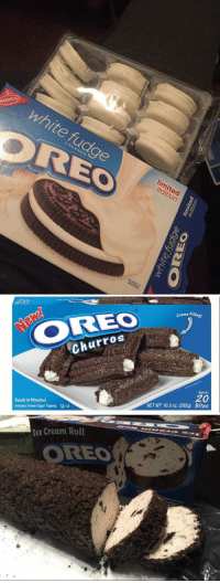 Ice Cream, Limited, and Sugar: white fudge  OREC  NABISCO  limited  edition  COVERED   OREO  Creme Fillin  g!  Churros  Ready in Minutes!  Includes Crumb Sugar Topping -D  Approx.  20  Bites  NET WT 10.3 oz. (292g)   Ice Cream Roll  OREO É disso que o Brasil precisa https://t.co/j998EGO040