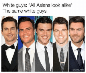 "White, Asians, and All: White guys: ""All Asians look alike""  The same white guys:  DANKLAND Attack of the Clones"