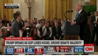 "Trump to Acosta: ""That's enough. Put down the mic. I'll tell you what, CNN should be ashamed of itself having you working for them. You are a rude, terrible person. You shouldn't be working for CNN."": White House  12:26 PM ET  BREAKING NEWS  TRUMP SPEAKS AS GOP LOSES HOUSE, GROWS SENATE MAJORITY  222 