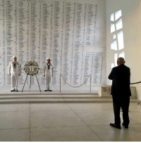 White House chief of staff John Kelly, takes a moment to himself after attending a wreath laying ceremony at the USS Arizona Memorial in Honolulu, Hawaii.: White House chief of staff John Kelly, takes a moment to himself after attending a wreath laying ceremony at the USS Arizona Memorial in Honolulu, Hawaii.