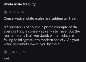 Dumb, Trash, and Thor: White male fragility  Zestiboi 6h  Conservative white males are subhuman trash  NZ shooter is of course a prime example of the  average fragile conservative white male. But the  reality here is that you dumb white hicks are  failing to integrate into modern societv. As your  value plummets lower, you lash out.  -ThOr-Novw  Kek I have finally made it. My post today baited my first hate message. Dat sick reply tho ...