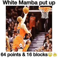 Memes, 🤖, and 16 Blocks: White Mamba put up  64 points & 16 blocks Quite possibly the best game in history. 😂Via: @dunksmixes😂 Tags: NBA WhiteMamba bulls