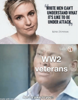 Meme, White, and Ww2: WHITE MEN CAN'T  UNDERSTAND WHAT  IT'S LIKE TO BE  UNDER ATTACK  LENA DUNHAM  SABC  ww2  veterans  Amlajoke to you?  made with mematic What an original meme