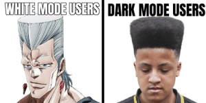 White Mode Users vs Dark Mode Users (Not a racist meme, if it insults someone im very sorry.: White Mode Users vs Dark Mode Users (Not a racist meme, if it insults someone im very sorry.