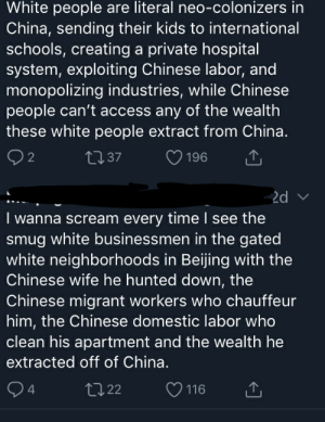 On successful migrants: White people are literal neo-colonizers in  China, sending their kids to international  schools, creating a private hospital  system, exploiting Chinese labor, and  monopolizing industries, while Chinese  people can't access any of the wealth  these white people extract from China.  2  L37  196  2d v  I wanna scream every time l see the  smug white businessmen in the gated  white neighborhoods in Beijing with the  Chinese wife he hunted down, the  Chinese migrant workers who chauffeur  him, the Chinese domestic labor who  clean his apartment and the wealth he  extracted off of China.  4  t22  116 On successful migrants