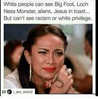loch ness monster: White people can see Big Foot, Loch  Ness Monster, aliens, Jesus in toast...  But can't see racism or white privilege.  i am orrin2